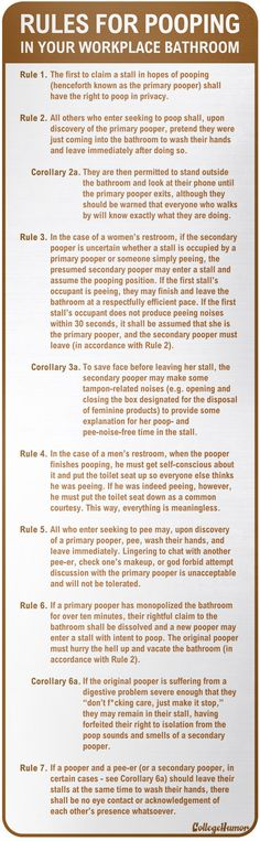 Too funny! Official Rules For Pooping In Your Workplace Bathroom.sorry if this grosses you out, but the struggle is real people Bathroom Quotes, Bathroom Humor, Struggle Is Real, College Humor, Work Humor, Office Humor, Hilarious, Funny Stuff, Haha