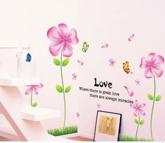 $8.94  - OneHouse Tall Flowers with Pink Leaves and Butterflies DIY Wall Decal Sticker Home Decor Flower Mural >>> Want additional info? Click on the image. (This is an affiliate link)