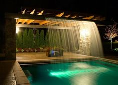Waterfall at pool pergola #modernpoolideas