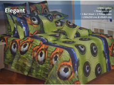 100% Cotton Bedsheet  This vibrant green color football print bedsheet will make you more energetic.