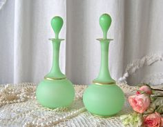 Vintage Perfume Bottles Art Deco Satin Finish by CynthiasAttic
