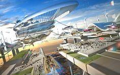 """""""Future sky-port high above the city (60's, Mead)"""" ~retro-futurism"""