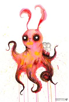 Octobun Octopus Painting, Weird Art, Rooster, Wolf, Mermaid, Watercolor, Animals, Pen And Wash, Watercolor Painting