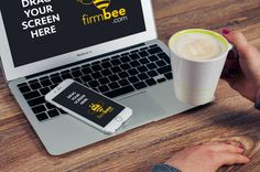 Freelance workplace PSD. #free #psd #apple #mac #mockup #business #mobile #android #desk #office #workplace #
