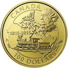moneda de oro Canada 100 dolares 2015 John Macdonald. Tren  Moneda de 100 dolares que celebra el 200 aniversario del nacimiento del Primer Ministro de Canadá, Sir John A. Macdonald. Peso: 12 gr.  Diámetro: 27 mm.