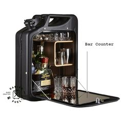 A conversation starter and a practical piece, this bar cabinet is crafted from recycled Jerry Cans from World War II, and...