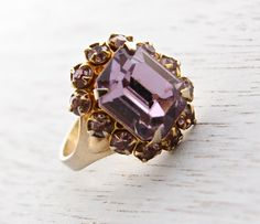 Vintage Pastel Purple Rhinestone Ring - Gold Tone Adjustable Costume Jewelry Cocktail Ring / Emerald Cut Faux Rose De France Amethyst by Maejean Vintage on Etsy, $16.00