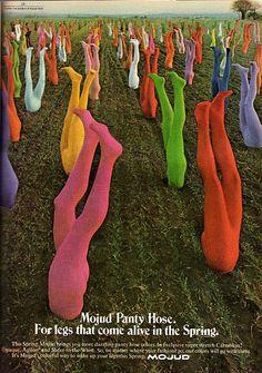 Cosmopolitan magazine, April 1972 Sowing the Seeds of Colorful Panty Hose. Dublin's concrete corn has finally been trumped. Vintage Advertisements, Vintage Ads, Retro Advertising, Retro Ads, Photocollage, Foto Art, Le Far West, Grafik Design, Wall Collage