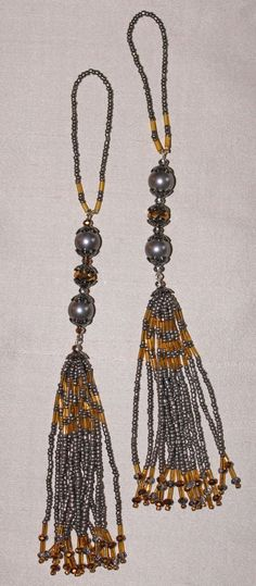 BEADED TASSELS Pewter and gold faceted beads  by GMBDesignsCustom, $29.00