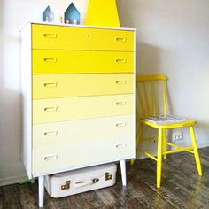 DIY idea: Yellow ombre painted chest of drawers