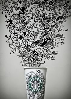 This could be developed with inspiration of Pat Perry really well :D Starbucks Cup Design, Starbucks Cup Art, Starbucks Coffee, Coffee Cup Art, My Coffee, Cool Doodles, Tumblr Art, Branding, Chalk Art