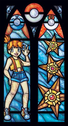 Stained Glass Pokemon Print of Misty and Staryu by FayProductions