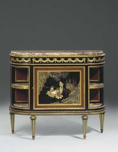 A Louis XVI style ormolu-mounted ebony, ebonised, aventurine and lacquered demi-lune cabinet a l'anglaise<br>In the manner of Martin Carlin, By Henry Dasson, Dated 1880, Retailed by Jansen, Paris<br>The demi-lune shaped <I>brèche Basque</I> marble top above a frieze decorated with lambrequins, the front with a a drawer above a lacquered cabinet door, the interior fitted with an adjustable shelf, the open sides with marble shelves, on tapering fluted legs, the carcass stamped to the back ...