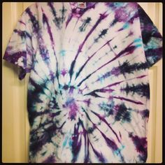 Experimenting with tye dye. Spiral pattern T-shirt...I've got to learn how to do this