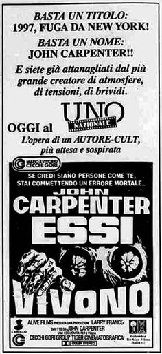 """Essi vivono"" (They Live, 1988) di John Carpenter, con Roddy Piper, Keith David e Meg Foster. Italian release: April 27, 1989 #MoviePosters #HorrorMovies #TheyLive #JohnCarpenter #RoddyPiper"