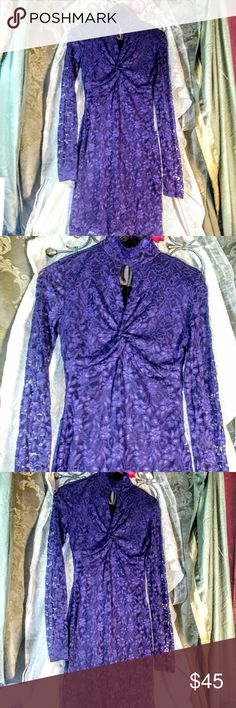 MODA INTERNATIONAL Lace keyhole dress Victoria's Secret Moda International purple lace bodycon dress. A stunning shade of purple. Features a Keyhole High neckline. Size medium. New without tags. Moda International Dresses