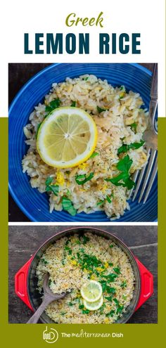 You'll love this bright, flavor-packed Greek lemon rice made with onions, garlic, fresh lemon juice and herbs! This is an easy side dish and pairs beautifully with lots of Mediterranean favorites! This makes a great summer side dish for your family and friends! Risotto Recipes, Spinach Recipes, Rice Recipes, Side Dish Recipes, Greek Recipes, Family Recipes, Summer Side Dishes, Best Side Dishes, Mediterranean Diet Recipes