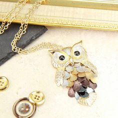 long owl necklace with drops by lisa angel | notonthehighstreet.com