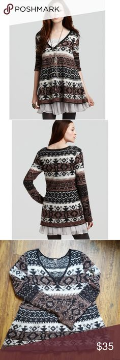 Free People Brown Cabin Fever Fair Isle Sweater M Cozy wool blend sweater perfect for layering! Small and faint stain as shown in the fifth photo. Make an offer! Free People Sweaters V-Necks