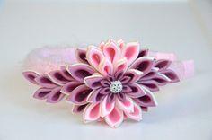 Pink girl headband girl headband Kanzashi by MagaroCreations