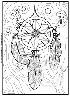 Native American Coloring Pages {Printable} Dreamcatcher, Feathers | Dimensions of Wonder