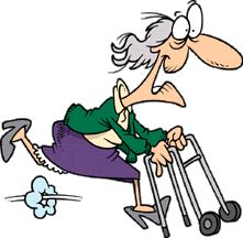Grandparents Day Clipart - Grandma Running with her Walker Cartoon People, Cartoon Images, Funny People, Old Folks, The Golden Years, Clip Art, Art Impressions, Grandparents Day, Digi Stamps