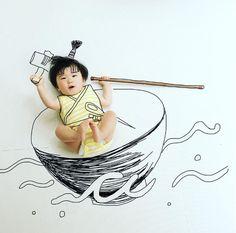 寝相アートに新ジャンル?インスタママが描く「寝相らくがきアート」の世界観が、好き♡の画像4