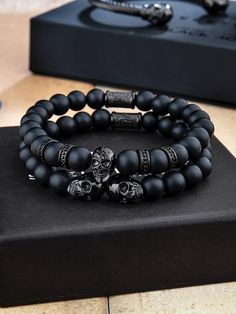 Sleek all black design will be a statement piece to complete any outfit. Wear them as a stack or one at a time to match your style. Mens Skull Jewelry, Diy Jewelry, Beaded Jewelry, Jewelery, Fashion Jewelry, Jewelry Making, Gemstone Bracelets, Bracelets For Men, Ideas Joyería