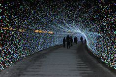 """Japan's Spectacular Tunnel of Lights: now to March 31, 2013, make sure to check out one of Japan's most stunning displays of light called Winter Illuminations at Nabana no Sato, a botanical garden turned light theme park on the island of Nagashima in Kuwana. This year's theme is """"nature"""" & it promises gorgeous scenes including a beautiful sunrise inspired by Mt. Fuji at dawn, a rainbow across the sky, & even an aurora. (2)"""