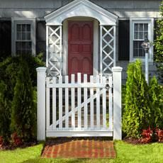 Get two stout posts and some stock cedar, and you've got the makings of a quaint garden gate entrance to any path. | Illustration: Gregory Nemeo | thisoldhouse.com