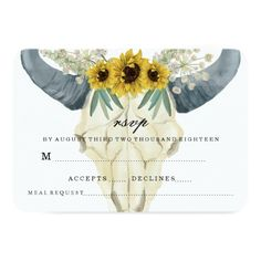 Gold Foil RSVP Wedding SUNFLOWER AND BULL WEDDING RSVP CARD