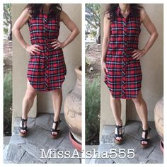 Plaid sleeveless dress Great chic plaid sleeveless dress/jacket great as a dress or can be worn open belted it's a multi style ( belt not included) PLEASE comment on the size you want and allow me to make you a personalized listing BUNDLE AND SAVE 10% Dresses
