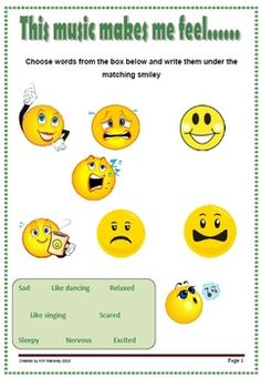 FREEBIE: Listening Worksheet 1  ♫ A useful one page listening response resource for young students.  ♫ Students are to select the word or words from the box, that best describe how listening to a piece of music made them feel.       #musiceducation #musedchat