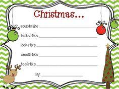 What Happens in First Grade: Fa-la-la-la Freebie!  A primary-friendly Christmas poem using the 5 senses.  Precious!