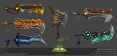 World of Warcraft: Legion Fury Warrior Artifacts , Christopher Hayes on ArtStation at https://www.artstation.com/artwork/3ZRd2