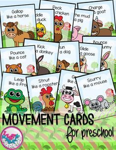 These farm animals themed movement cards will keep your students active while they're excited for the weather to warm up! Keep those excited little ones busy indoors when it's too rainy to go outside! All while teaching them about different actions, animal names and improving their gross motor skills! Print and cut these out, laminate them and keep them all together on a metal ring. Put on some music and let your kids dance!