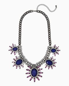 Spiked Blossom Statement Necklace | UPC: 450900421687 #charmingcharlie #midnightblooms