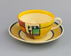 Clarice Cliff Branch and Squares Pattern Cup and Saucer c1930