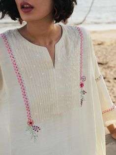 Naryman Kurti | Misha Lakhani Embroidery Suits Design, Floral Embroidery, Hand Embroidery, Churidar, Kurti, Western Tops, Indian Suits, Occasion Wear, New Work