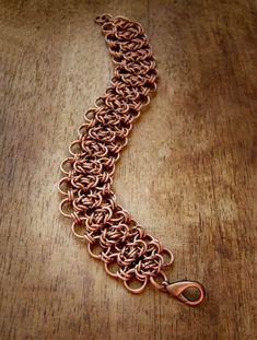 Lace chains bracelet Copper chainmail bracelet Boho by OllyBijou