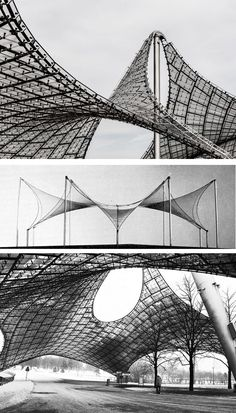 Frei Otto tensile structures in paukf structures. Parametric Architecture, Pavilion Architecture, Sustainable Architecture, Art And Architecture, Contemporary Architecture, Residential Architecture, Stadium Architecture, Parametric Design, Fabric Structure