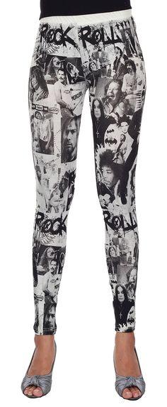 d7e8cc26875 Leggings Cotton Spandex - Rock and Roll Superstars Full Screen Print  Leggings Stretch Pants Full Length
