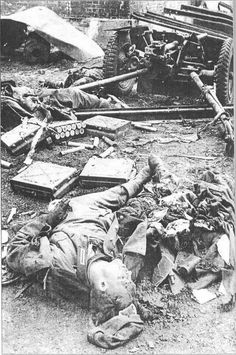 This German 37-mm anti-tank gun has been neutralized by a direct hit. The three-man crew were massacred by the shot.  South-Western Front, sector defended by the 6th Army of General Gorodnyansky, 1942.