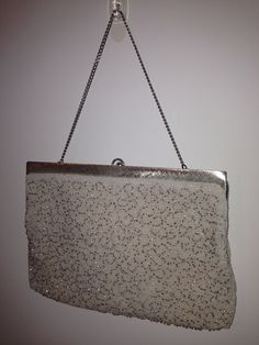 White and silver beaded evening bag hand made in belgium