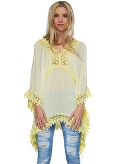 Monton Yellow Crochet Trim V Back Kaftan Top