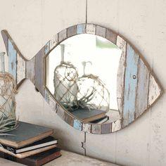 Nautical Mirrors: Driftwood Fish Mirror|Bella Coastal Decor