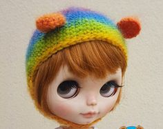 Rainbow bear hat for Neo Blythe, made in 100% pure australian wool
