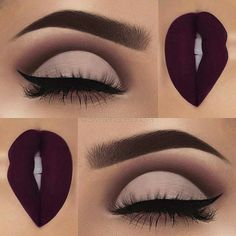 // oliviasavidge Matte Makeup, Plum Eye Makeup, Dark Lips Makeup, Eye Makeup Cut Crease, Plum Eyeliner, Lip Makeup, Beauty Makeup, Makeup Brushes, Prom Makeup