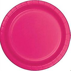 "Custom & Unique {10"" Inch} 24 Count Multi-Pack Set of Large Size Round Disposable Paper Plates w/ Single Colored Simple Teen Girl Party Celebration Event ""Hot Magenta Pink Colored"" mySimple Products"