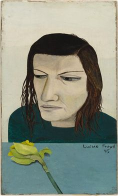 Lucian Freud – Woman with a Daffodil, 1945; Oil on board on canvas, 23.8x14.3 cm | MoMA